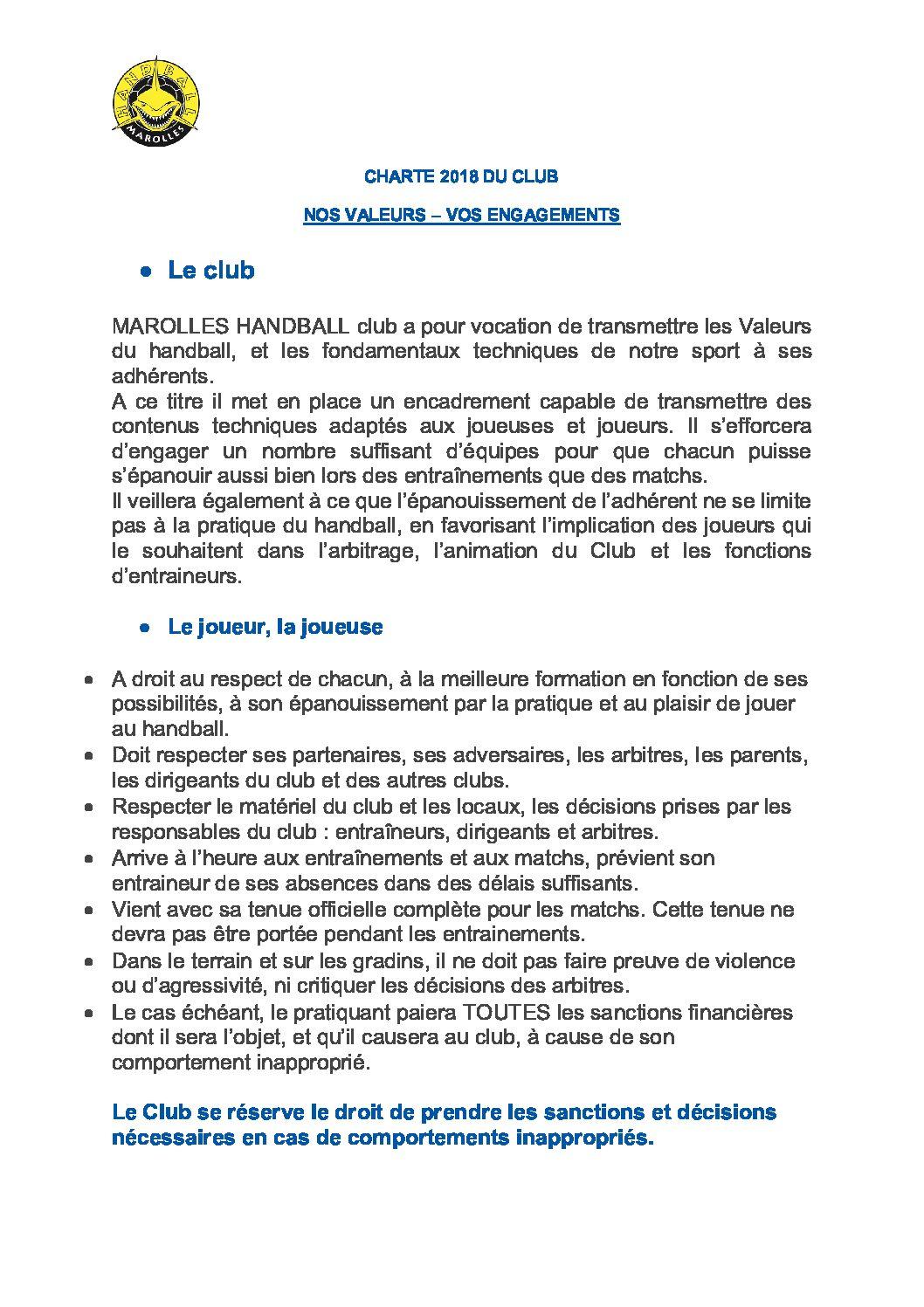 Charte Joueuses/Joueurs